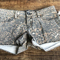 Guess Black and Brown Zebra Denim Short Shorts - Size 26 Photo