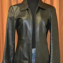 Guess Black Casual Full Zip 100% Genuine Leather Jacket Coat Womens Ladies Small Photo
