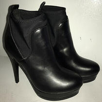 Guess Black Faux Leather Almond Toe Slip on Booties W/5 Slim Heel Size 7m Photo
