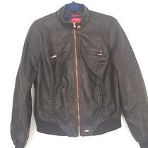 Guess Black Faux Leather Bomber Style Jacket Size L Photo