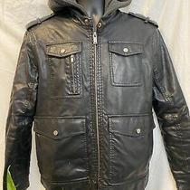 Guess Black Faux Leather Jacket Men Size M Hoodie Attachment Photo