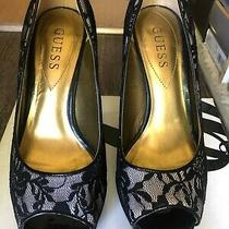 Guess Black Lace Pump Size 5.5 Photo