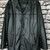 Guess Black Leather Blazer Zip Out Lining Button Front Jacket Men Size Large Euc Photo