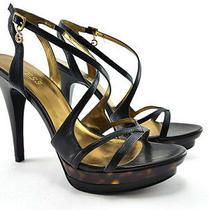 Guess Black Leather High Heels Sandals Womens Shoe Size Us 9/eu 39 Photo