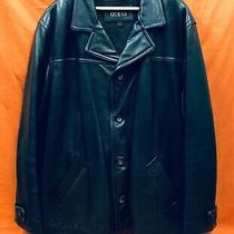 Guess Black Leather Jacket Size 2xl Photo