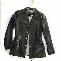 Guess Black Leather Jacket Size M Car Coat Length Ties Waist Snap Closure Lined Photo