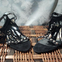 Guess Black Leather Open Toe Heel With Silver Metal Decor Size 9 1/2 M Photo