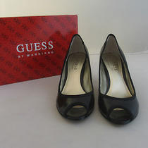 Guess Black Leather Peep Toe Kitten Heels - Size 6 Dv Photo