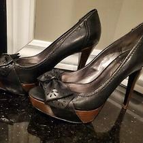 Guess Black Leather Platform Heels Pumps Photo