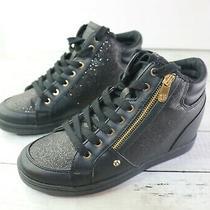 Guess Black Leather Sole Shoe Lace Up Gold Zipper Sparkle Combat  Boot Size 8 M Photo