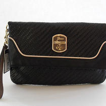 Guess Black Multi Fashion Makala Folder Clutch Brand New Photo
