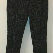 Guess Black Pants Damask Design Pattern Size 28 Bottoms Womens Clothing Preowned Photo