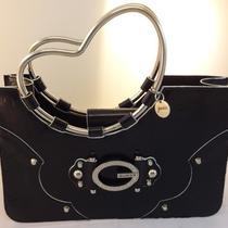 Guess Black Patent Leather Hand Bag Purse Fantastic Style Silver Heart Handles Photo