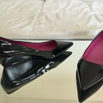 Guess Black Patent Leather Low Wedge Heels With Pointed Toes Size 6 Photo