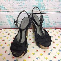 Guess Black Platform Open Toe T Strap Strappy Sandals Heels Womens 10 Cork Shoes Photo