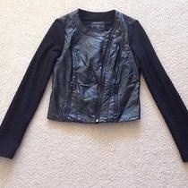 Guess Black Pleather Motorcycle Jacket Size M Photo