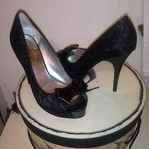 Guess Black Pumps Lace Stiletto Platform Heels Sz 8.5 M Peep Toe Slip on  Shoes Photo