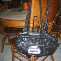Guess Black Purse  Faux Alligator Skin Design  Photo