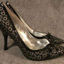 Guess Black & Silver Fabric Classic Pumps Size 8.5 M Photo