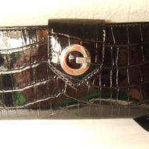 Guess Black Single Fold Checkbook Wallet Slim - Nwt Croc Faux Leather Alligator Photo