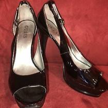 Guess Black Size 7.5 M Patent Leather Platform Stiletto Heels Pumps Shoes Photo