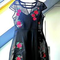 Guess Black Skater Dress With Red Roses Uk Size L Photo