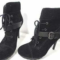 Guess Black Stiletto Lace Up & Buckle Shoe Boot - Size 8 1/2m Photo
