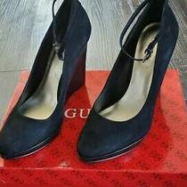 Guess Black Suede Wedge Heel W/ Ankle Strap 7.5 Photo