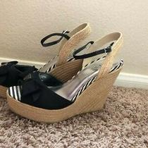 Guess Black & Tan Espadrille Wedges Size 8 Photo