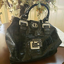 Guess Black Textured Patent Leather Handbag Tote Purse Large Hobo Photo
