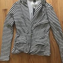 Guess Black & White Striped Casual Blazer Jacket Xs Photo