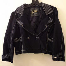 Guess Black With White Piping Double Breasted Cropped Jacket  Xlarge Photo