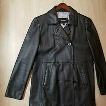 Guess Black Women's Leather Jacket Size L Blazer Black Double Breasted Coat  Photo