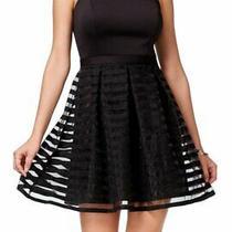 Guess Black Women's Size 8 Strappy Pleated Sheath Stripe Dress 148- 924 Photo