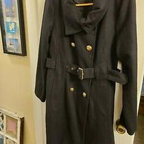 /guess Black Wool Pea Coat Belted Gold Accents Sz L Nwot Photo