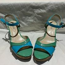 Guess Blue and Green Wedge Shoe 8.5 Photo
