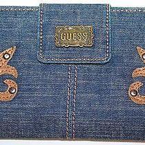 Guess Blue Denim Bifold Checkbook Wallet Photo