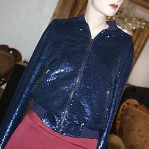 Guess Blue Emily Sequined Bomber Jacket Size Xs Photo