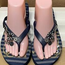 Guess Blue Flip Flop Platform Sandals Sz 9 Charm Embellished Fashion Photo