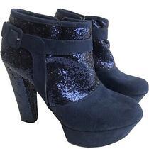Guess Blue Glitter Platform Heels Pumps Size 9 Side Zipper. I18 Photo