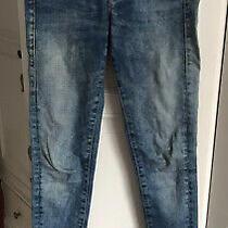 Guess Blue Skinny Rose Gold Embellished Jeans Jeggings 26 Size 8 Photo