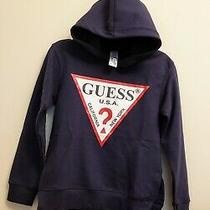 Guess Boys Kids Sweatshirt Hoodie Size S (8-10 Long-Sleeve Navy Blue Marine  Photo