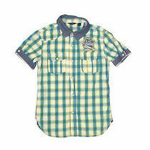 Guess Boys Yellow Short Sleeve Button-Down Shirt 8 Photo