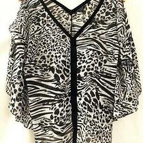Guess Brand Womens Black Gray White Leopard Print Lace Up Shirt Top Size Medium Photo