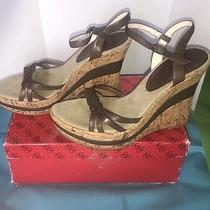 Guess  Brown Braided Strap Tan Cork Wedge Platform Heels Gw Fountain 10m in Box Photo