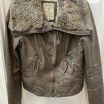 Guess Brown Distressed Faux Quilted Leather Jacket With Faux Fur Collar Size L Photo