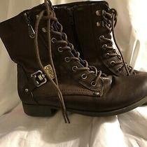 Guess Brown Faux Leather 8 Tall Boots Shoe Size 8.5 M Euc - Free Mask Photo