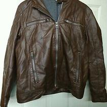 Guess Brown Hooded Faux Leather Jacket W/hood Men's Size Large Photo