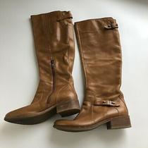 Guess Brown Knee High Riding Boots Buckles Straps Women's Size 7.5m Photo