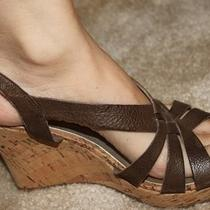 Guess Brown Leather Cork Wedge Platform Sandals Shoes 6.0 6 Photo